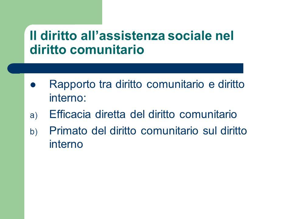 Il diritto allassistenza sociale nel diritto comunitario Rapporto tra diritto comunitario e diritto interno: a) Efficacia diretta del diritto comunita