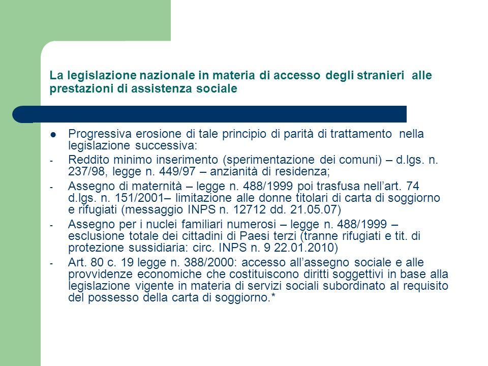 La legislazione nazionale in materia di accesso degli stranieri alle prestazioni di assistenza sociale Progressiva erosione di tale principio di parit