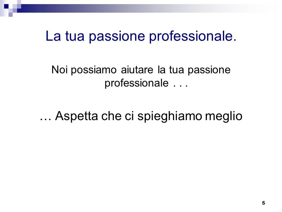 5 La tua passione professionale.Noi possiamo aiutare la tua passione professionale...