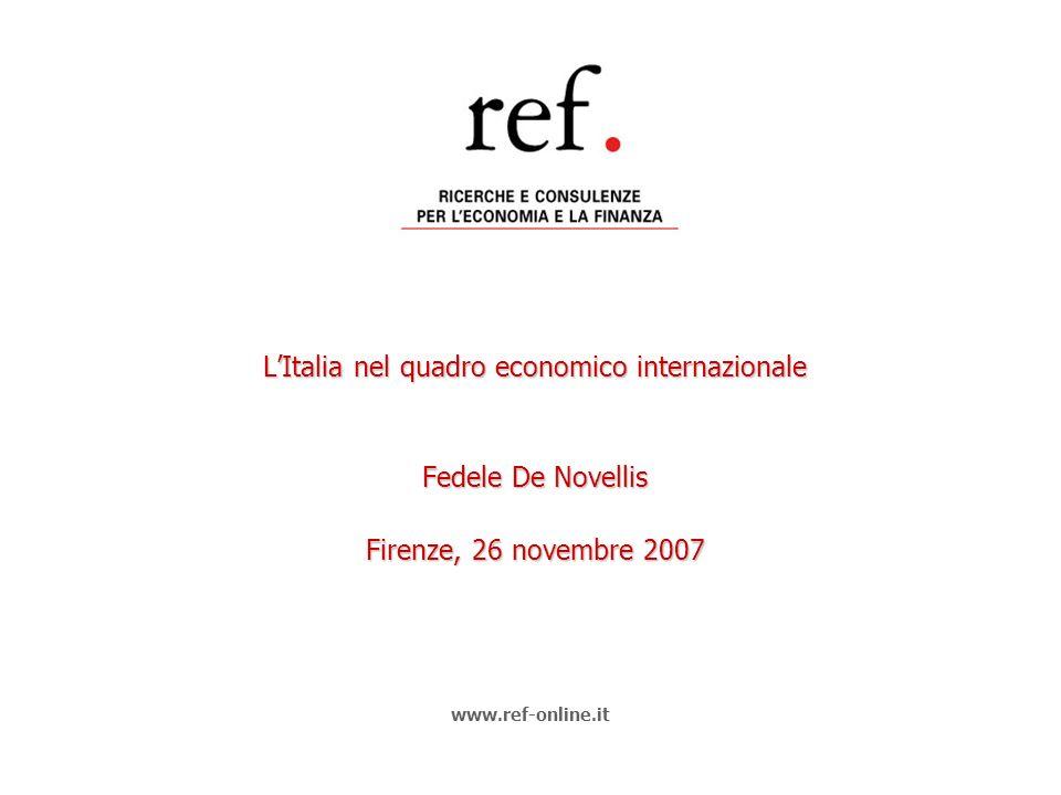 LItalia nel quadro economico internazionale Fedele De Novellis Firenze, 26 novembre 2007 www.ref-online.it