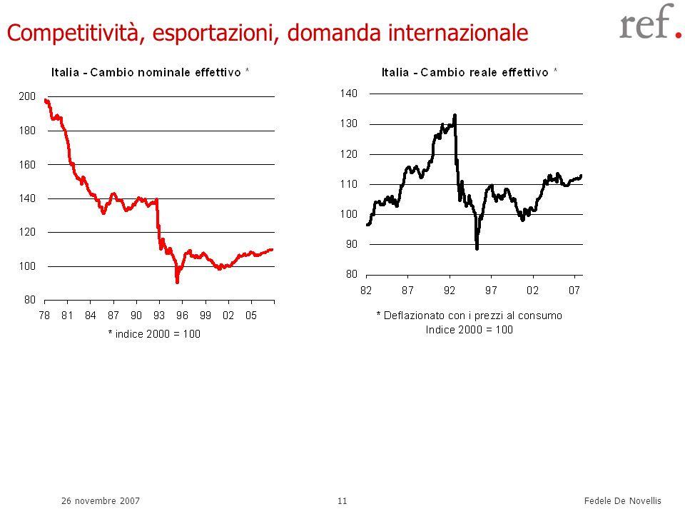 Fedele De Novellis 26 novembre 200711 Competitività, esportazioni, domanda internazionale