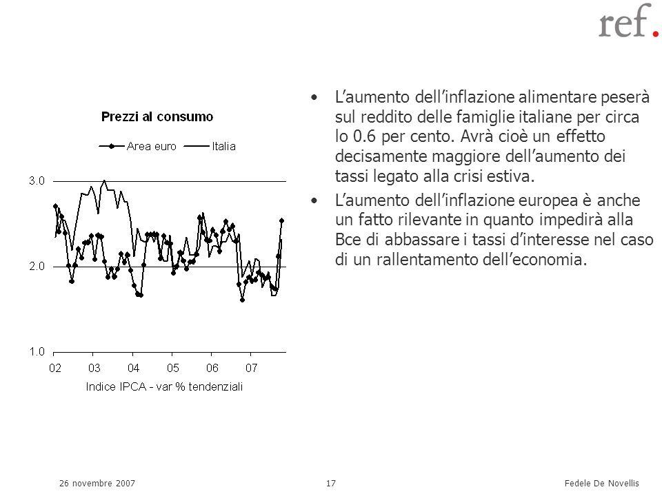 Fedele De Novellis 26 novembre 200717 Laumento dellinflazione alimentare peserà sul reddito delle famiglie italiane per circa lo 0.6 per cento. Avrà c