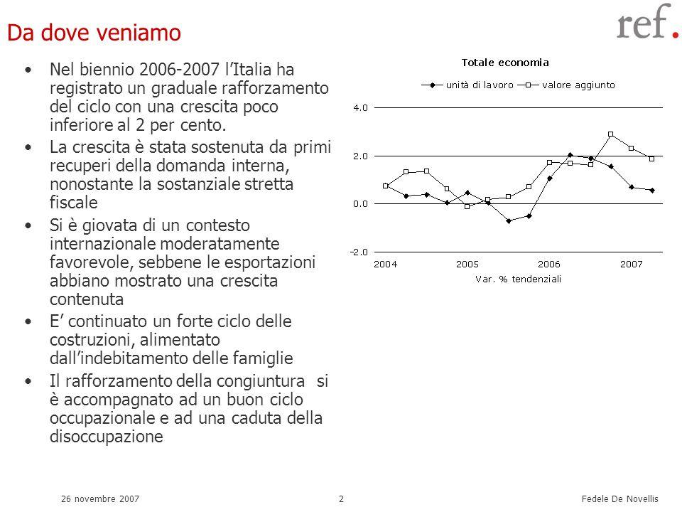 Fedele De Novellis 26 novembre 20072 Da dove veniamo Nel biennio 2006-2007 lItalia ha registrato un graduale rafforzamento del ciclo con una crescita poco inferiore al 2 per cento.