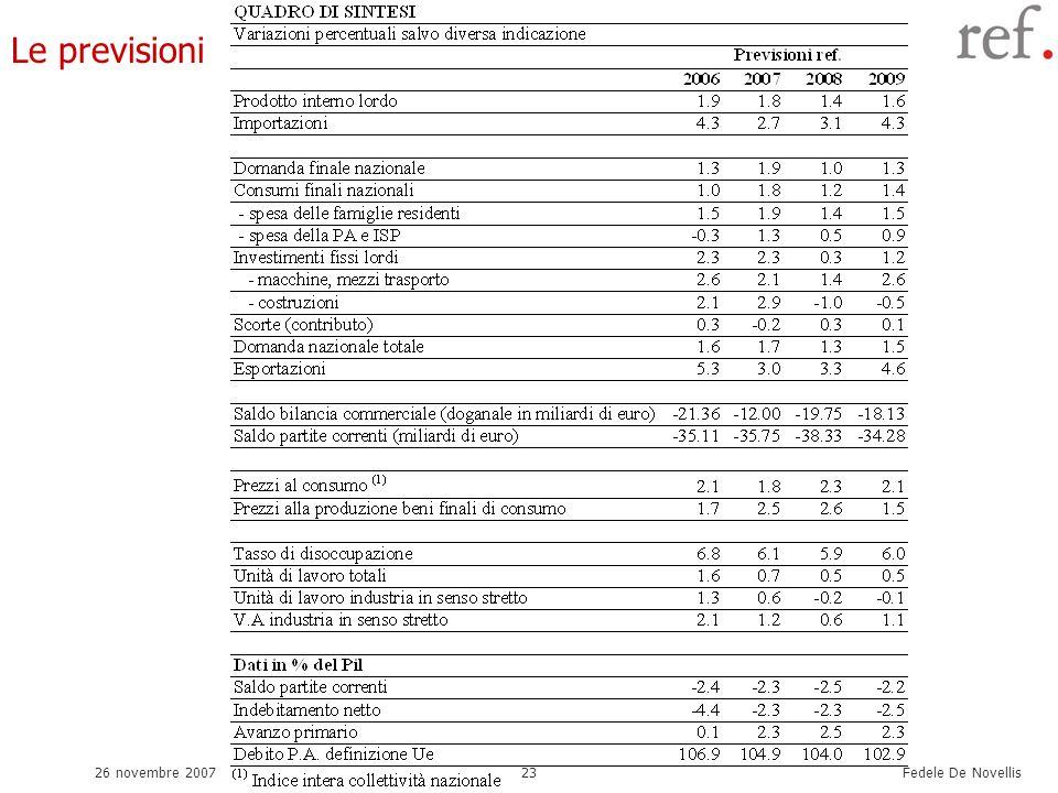 Fedele De Novellis 26 novembre 200723 Le previsioni