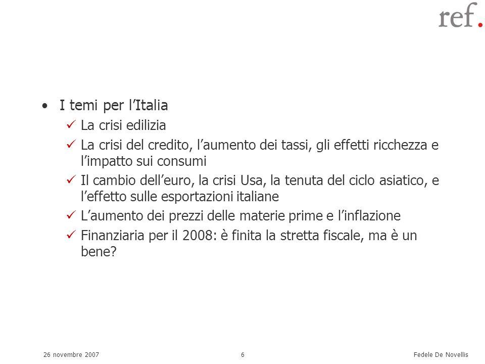 Fedele De Novellis 26 novembre 20076 I temi per lItalia La crisi edilizia La crisi del credito, laumento dei tassi, gli effetti ricchezza e limpatto sui consumi Il cambio delleuro, la crisi Usa, la tenuta del ciclo asiatico, e leffetto sulle esportazioni italiane Laumento dei prezzi delle materie prime e linflazione Finanziaria per il 2008: è finita la stretta fiscale, ma è un bene