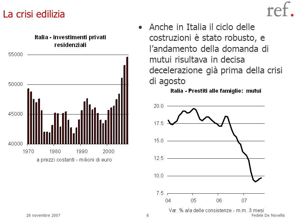 Fedele De Novellis 26 novembre 20078 La crisi edilizia Anche in Italia il ciclo delle costruzioni è stato robusto, e landamento della domanda di mutui risultava in decisa decelerazione già prima della crisi di agosto