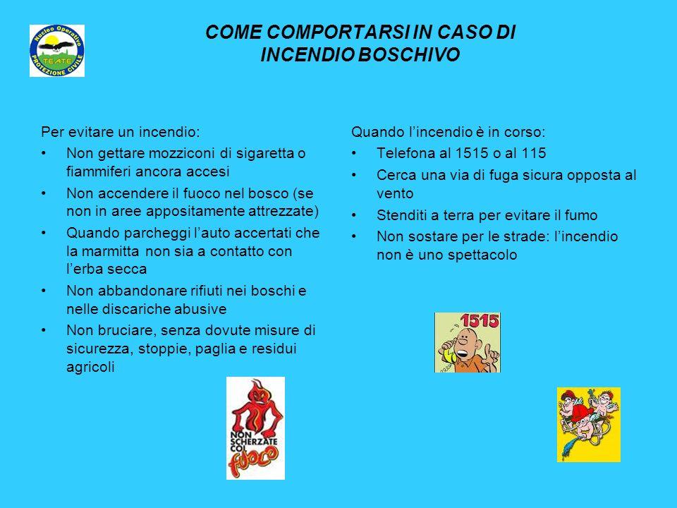 COME COMPORTARSI IN CASO DI INCENDIO BOSCHIVO Per evitare un incendio: Non gettare mozziconi di sigaretta o fiammiferi ancora accesi Non accendere il