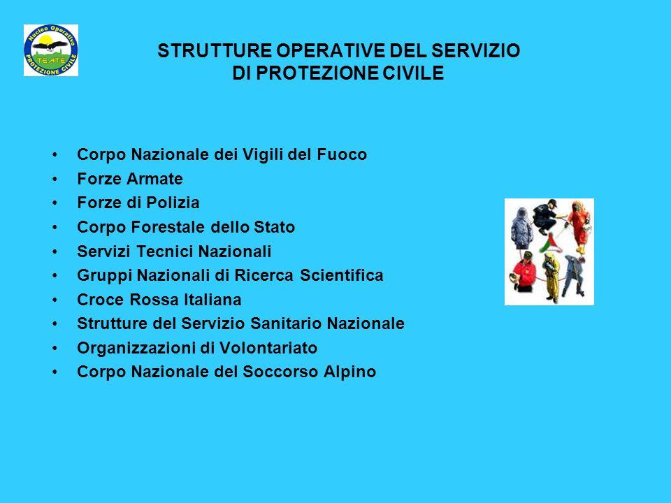 STRUTTURE OPERATIVE DEL SERVIZIO DI PROTEZIONE CIVILE Corpo Nazionale dei Vigili del Fuoco Forze Armate Forze di Polizia Corpo Forestale dello Stato S