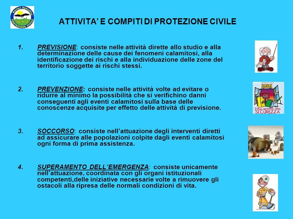 ATTIVITA E COMPITI DI PROTEZIONE CIVILE 1.PREVISIONE: consiste nelle attività dirette allo studio e alla determinazione delle cause dei fenomeni calam