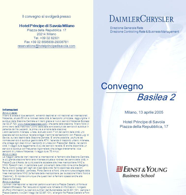 Convegno Basilea 2 Direzione Generale Rete Direzione Controlling Rete & Business Management Il convegno si svolgerà presso Hotel Principe di Savoia Mi