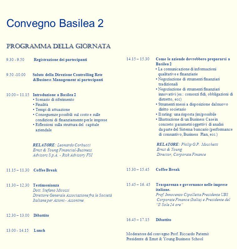 Convegno Basilea 2 Programma della giornata 9.30 - 9.50 Registrazione dei partecipanti 9.50 -10.00 Saluto della Direzione Controlling Rete &Business M