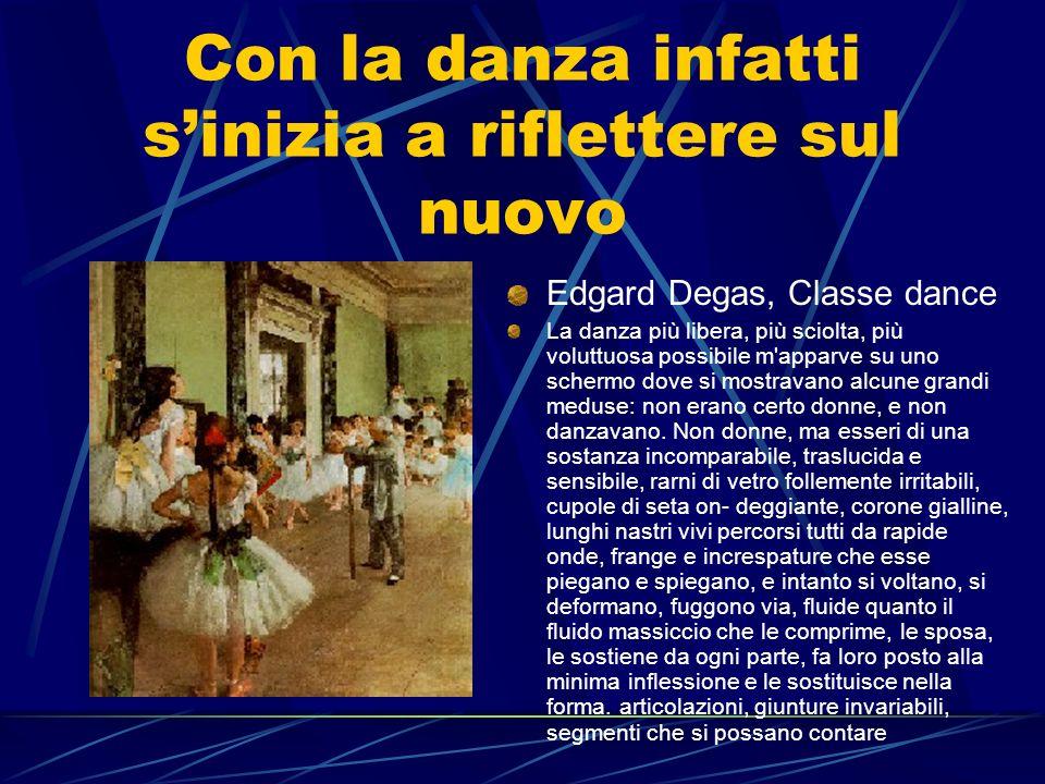 Con la danza infatti sinizia a riflettere sul nuovo Edgard Degas, Classe dance La danza più libera, più sciolta, più voluttuosa possibile m'apparve su