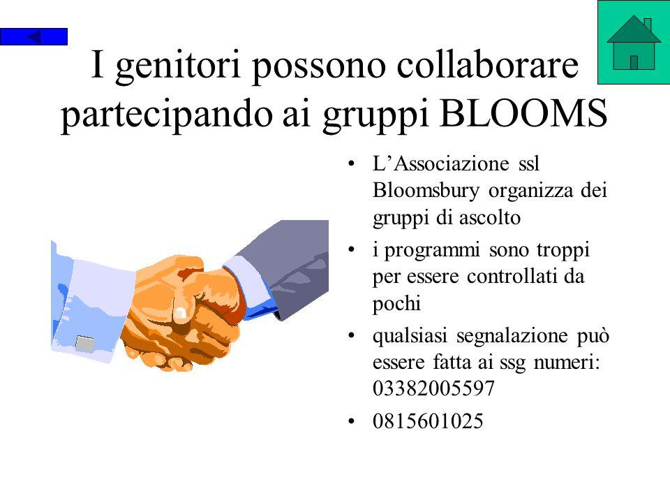 I genitori possono collaborare partecipando ai gruppi BLOOMS LAssociazione ssl Bloomsbury organizza dei gruppi di ascolto i programmi sono troppi per