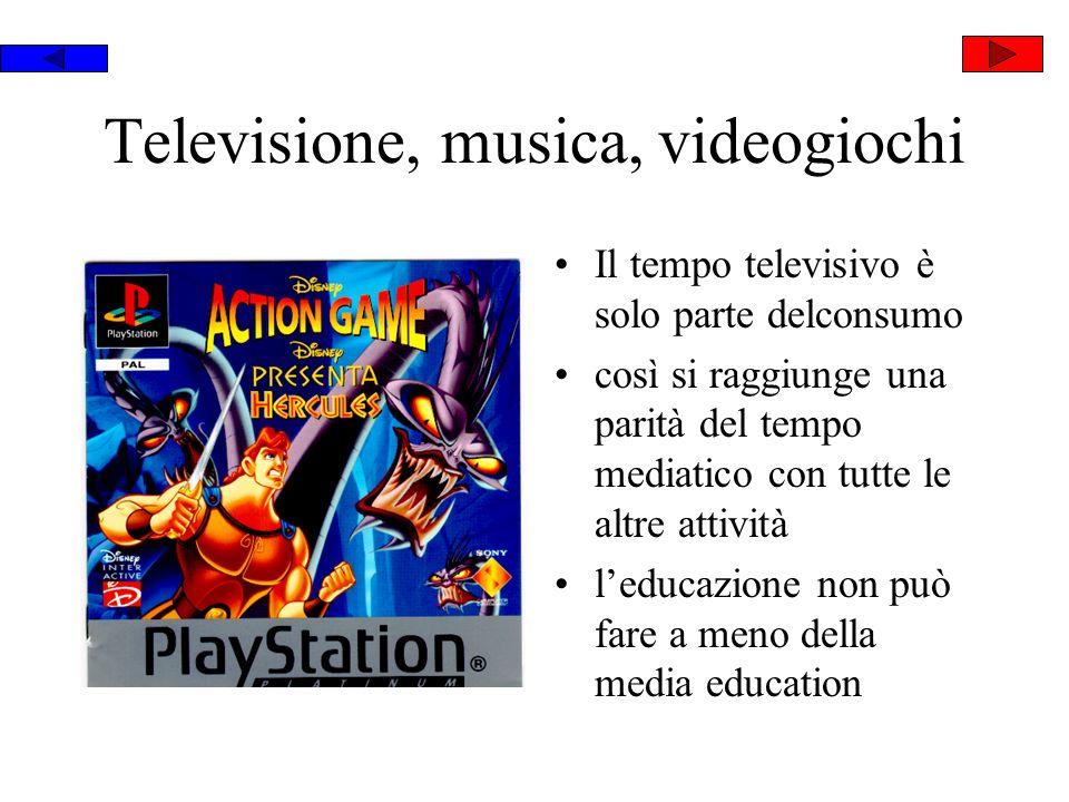 Televisione, musica, videogiochi Il tempo televisivo è solo parte delconsumo così si raggiunge una parità del tempo mediatico con tutte le altre attività leducazione non può fare a meno della media education