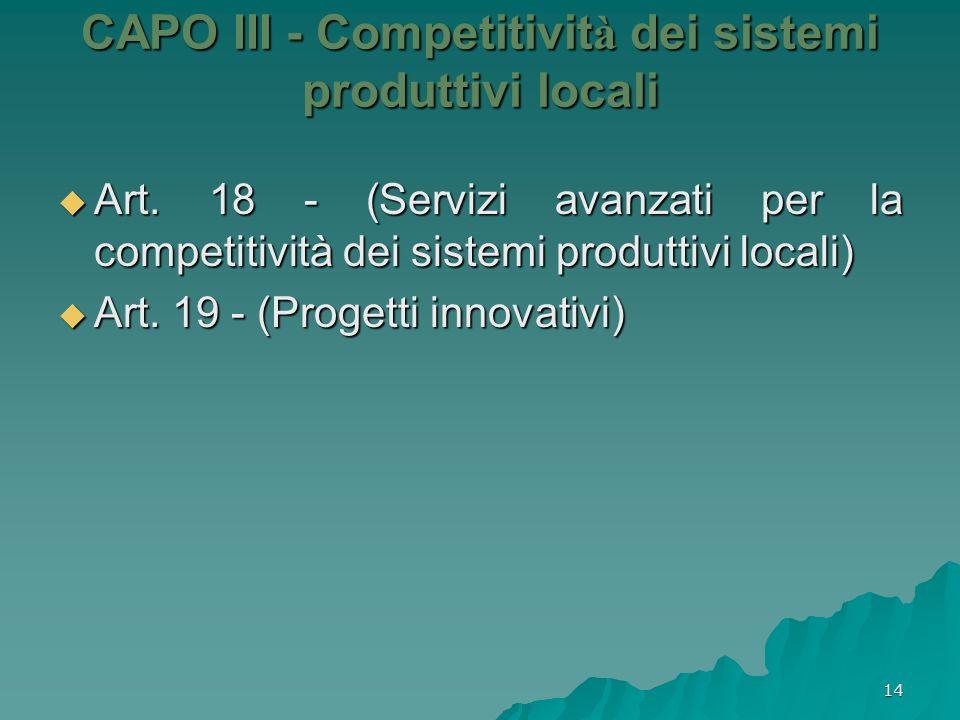 14 CAPO III - Competitivit à dei sistemi produttivi locali Art. 18 - (Servizi avanzati per la competitività dei sistemi produttivi locali) Art. 18 - (