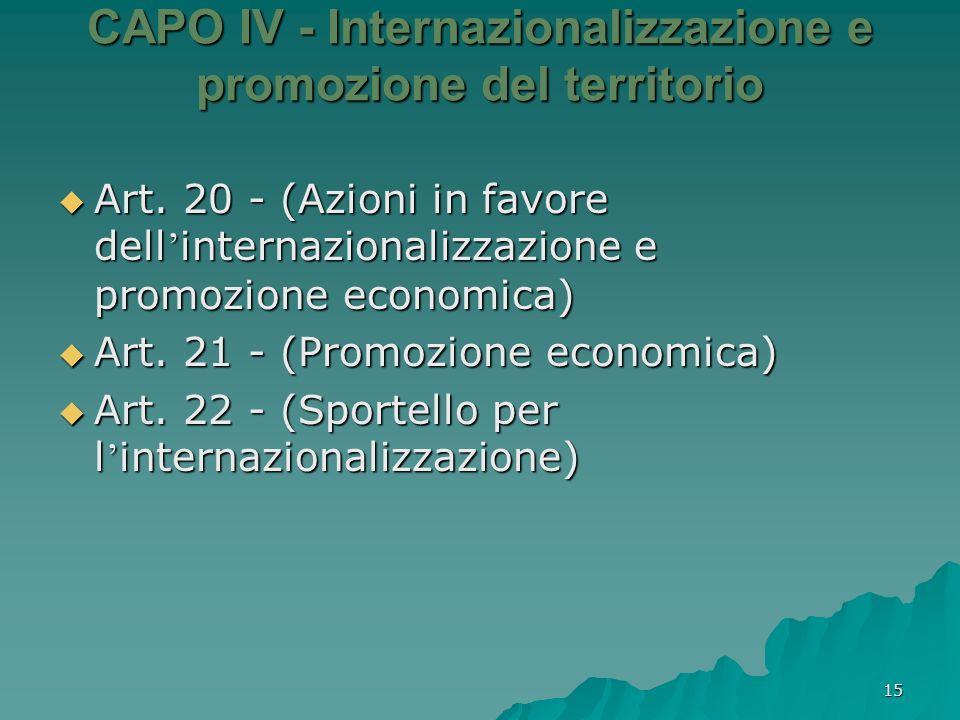 15 CAPO IV - Internazionalizzazione e promozione del territorio Art. 20 - (Azioni in favore dell internazionalizzazione e promozione economica) Art. 2