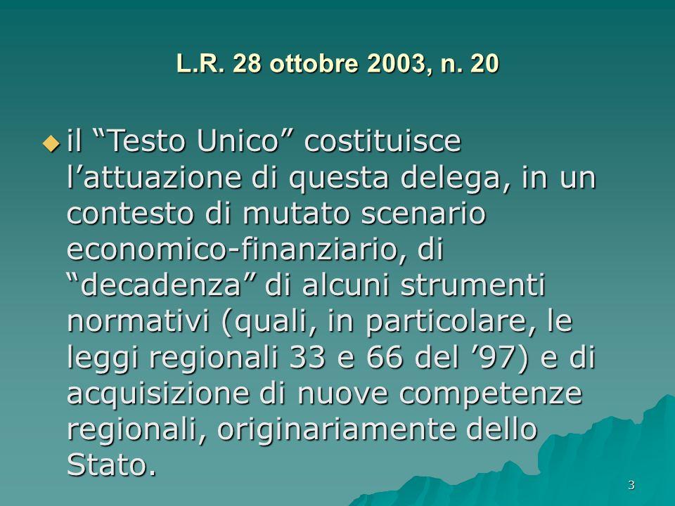 3 L.R. 28 ottobre 2003, n. 20 il Testo Unico costituisce lattuazione di questa delega, in un contesto di mutato scenario economico-finanziario, di dec