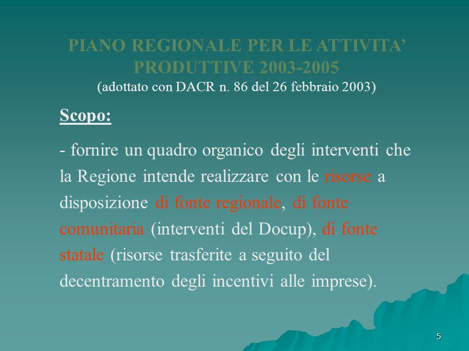 5 PIANO REGIONALE PER LE ATTIVITA PRODUTTIVE 2003-2005 (adottato con DACR n. 86 del 26 febbraio 2003) Scopo: - fornire un quadro organico degli interv