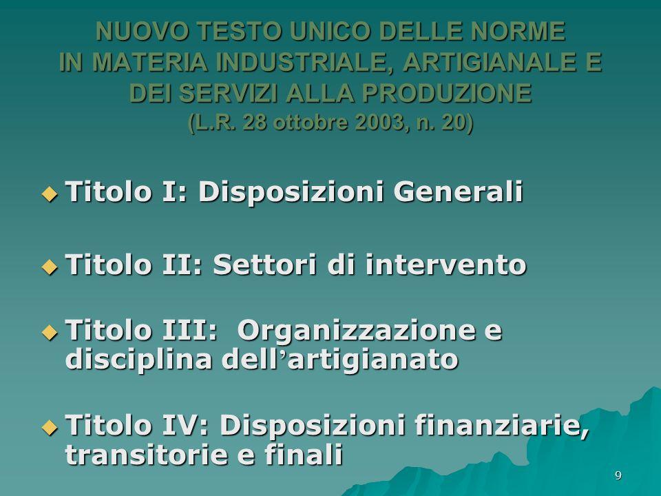 9 NUOVO TESTO UNICO DELLE NORME IN MATERIA INDUSTRIALE, ARTIGIANALE E DEI SERVIZI ALLA PRODUZIONE (L.R. 28 ottobre 2003, n. 20) Titolo I: Disposizioni