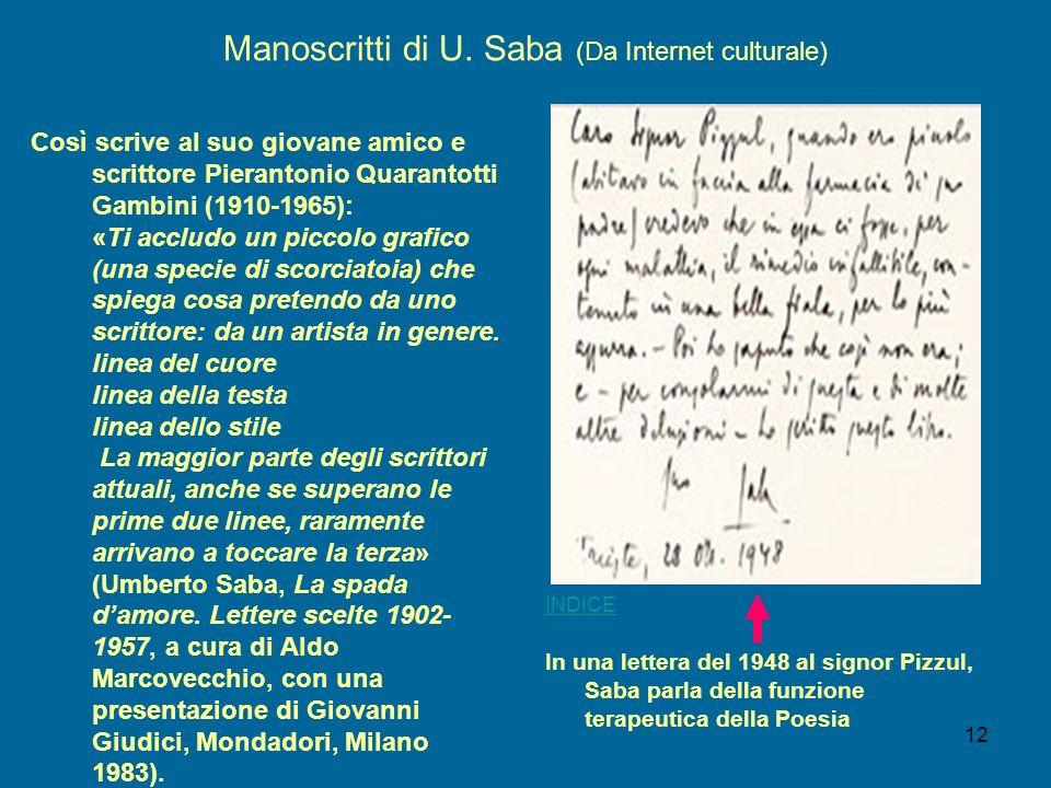 12 Manoscritti di U. Saba (Da Internet culturale) Così scrive al suo giovane amico e scrittore Pierantonio Quarantotti Gambini (1910-1965): «Ti acclud