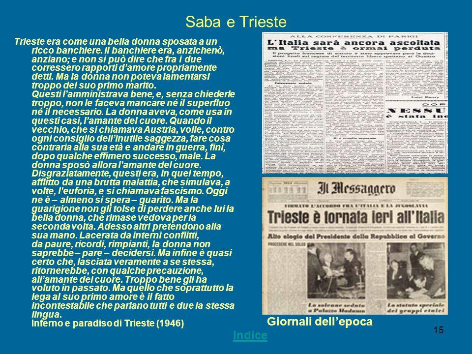 15 Saba e Trieste Trieste era come una bella donna sposata a un ricco banchiere. Il banchiere era, anzichenò, anziano; e non si può dire che fra i due