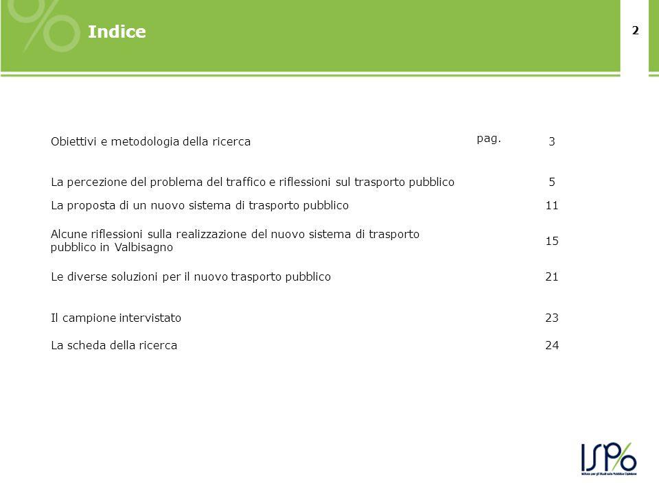 2 Indice Obiettivi e metodologia della ricerca pag. 3 La percezione del problema del traffico e riflessioni sul trasporto pubblico5 La proposta di un