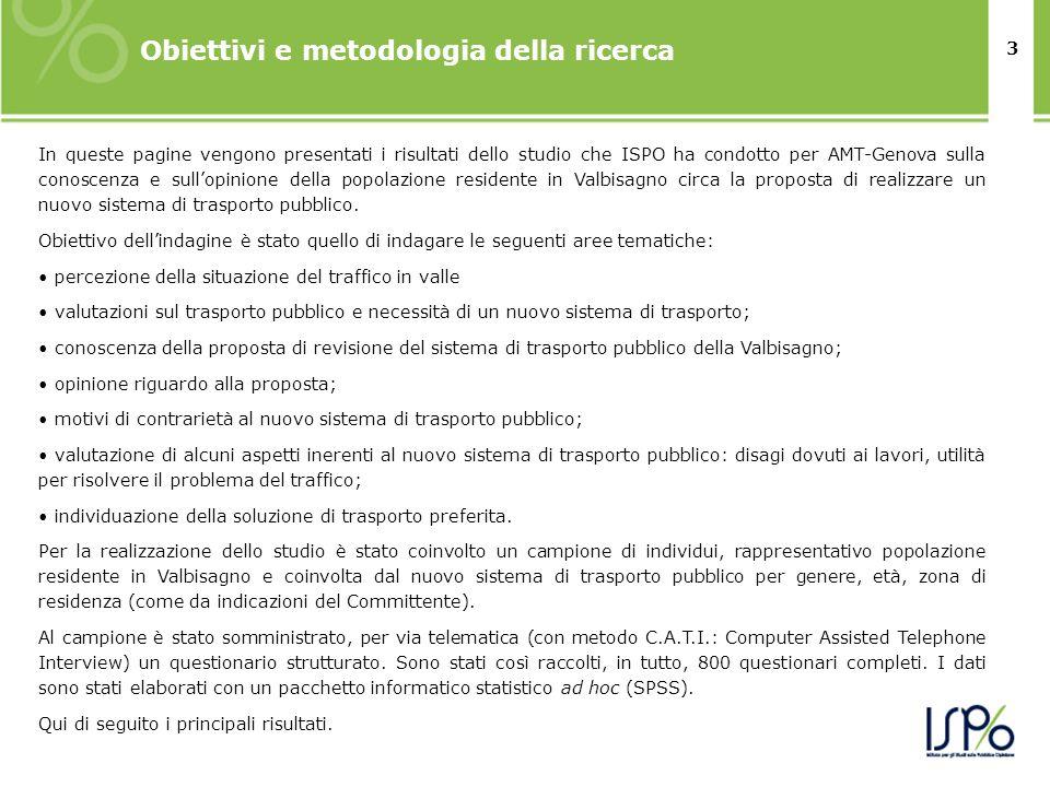 3 In queste pagine vengono presentati i risultati dello studio che ISPO ha condotto per AMT-Genova sulla conoscenza e sullopinione della popolazione r