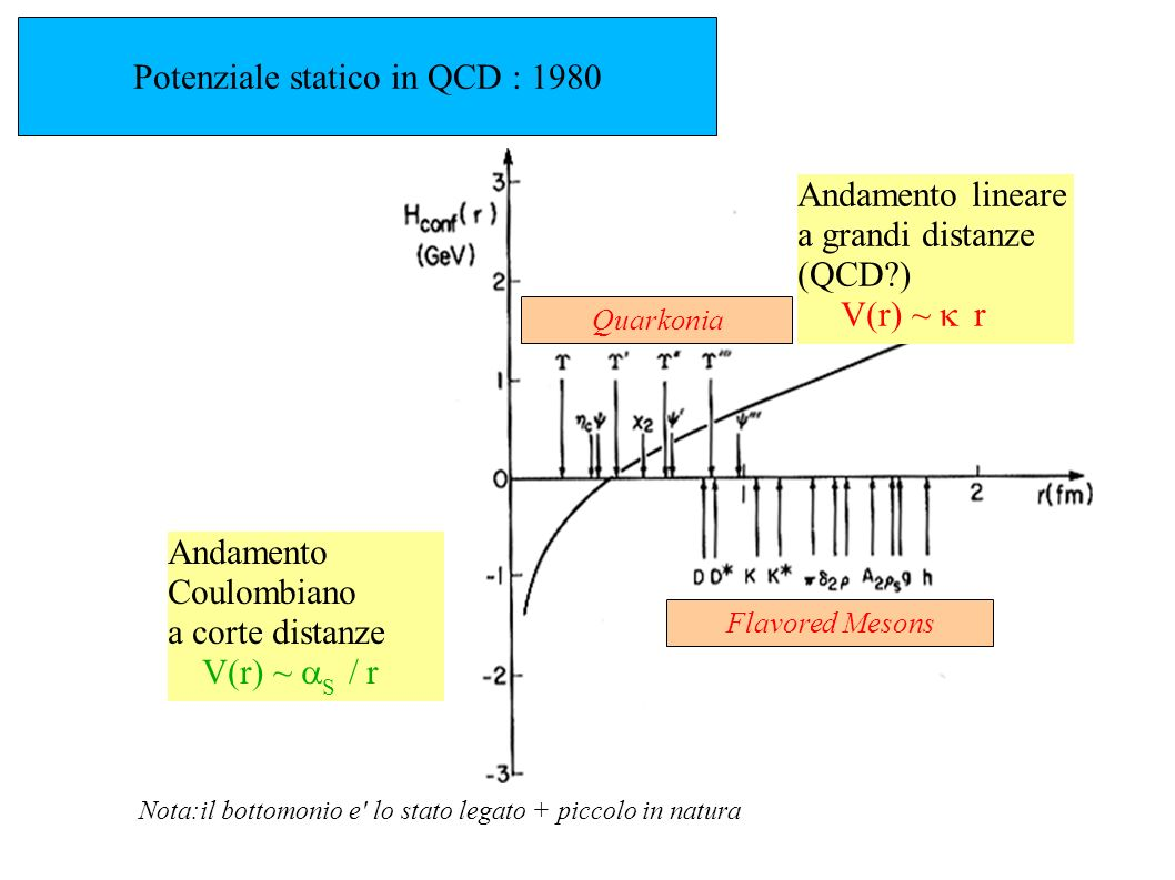 Potenziale statico in QCD : 1980 Andamento Coulombiano a corte distanze V(r) ~ S / r Andamento lineare a grandi distanze (QCD?) V(r) ~ r Nota:il botto