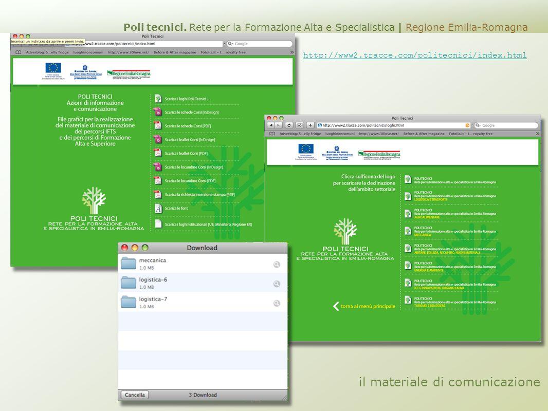 il materiale di comunicazione http://www2.tracce.com/politecnici/index.html Poli tecnici. Rete per la Formazione Alta e Specialistica | Regione Emilia
