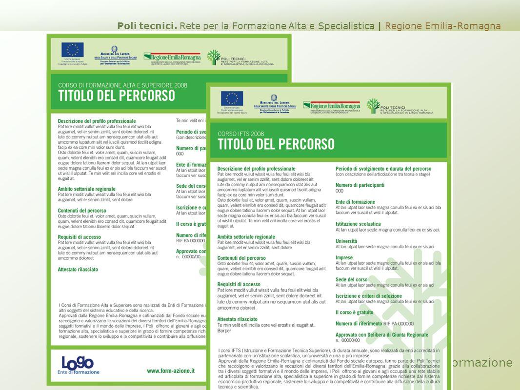 Scheda Corsi di Formazione Poli tecnici. Rete per la Formazione Alta e Specialistica | Regione Emilia-Romagna