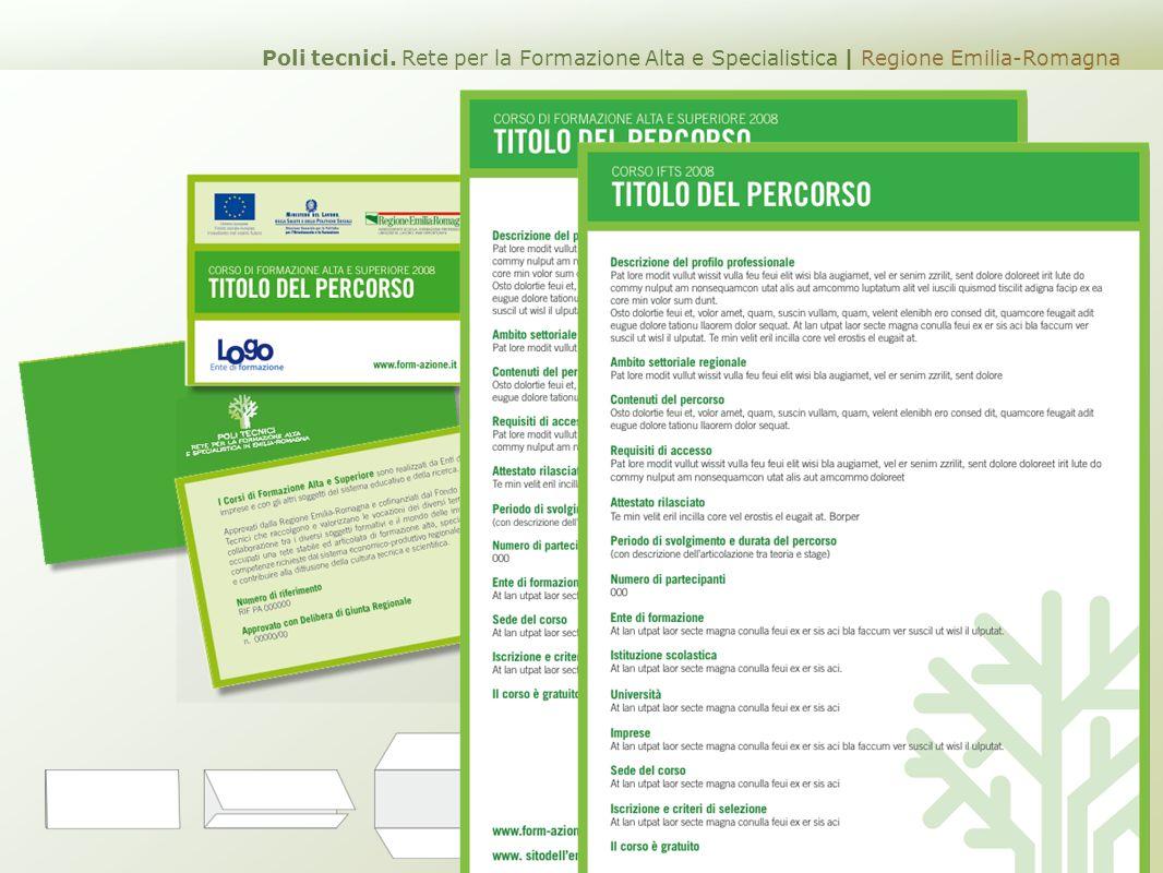 leaflet Corsi di Formazione Poli tecnici. Rete per la Formazione Alta e Specialistica | Regione Emilia-Romagna