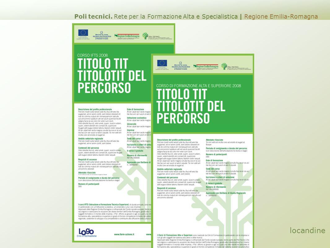 locandine Poli tecnici. Rete per la Formazione Alta e Specialistica | Regione Emilia-Romagna