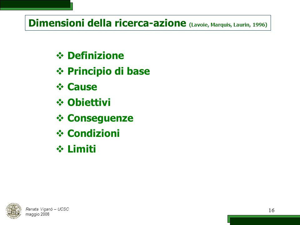 16 Dimensioni della ricerca-azione (Lavoie, Marquis, Laurin, 1996) Definizione Principio di base Cause Obiettivi Conseguenze Condizioni Limiti Renata