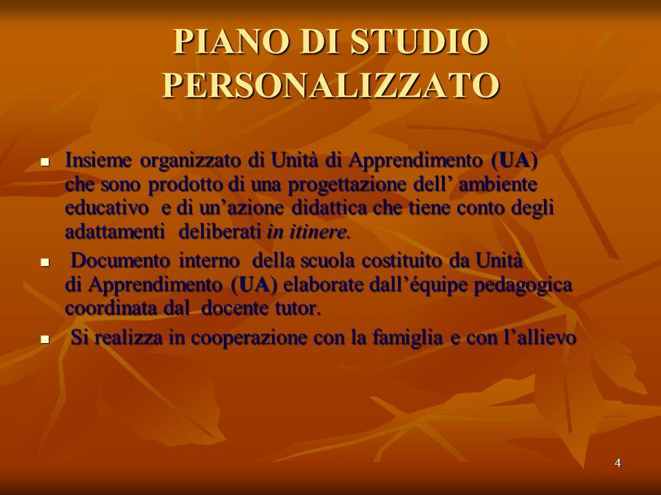 4 PIANO DI STUDIO PERSONALIZZATO Insieme organizzato di Unità di Apprendimento (UA) che sono prodotto di una progettazione dell ambiente educativo e d