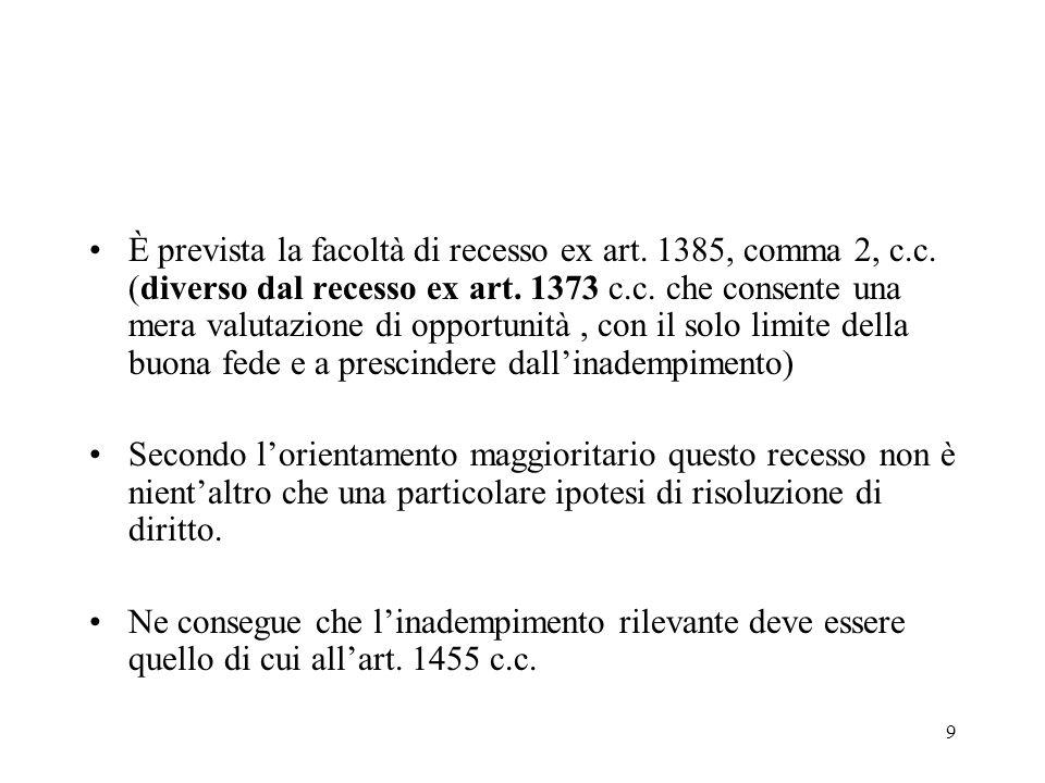 10 La specialità del rimedio ex art.1385 c.c.