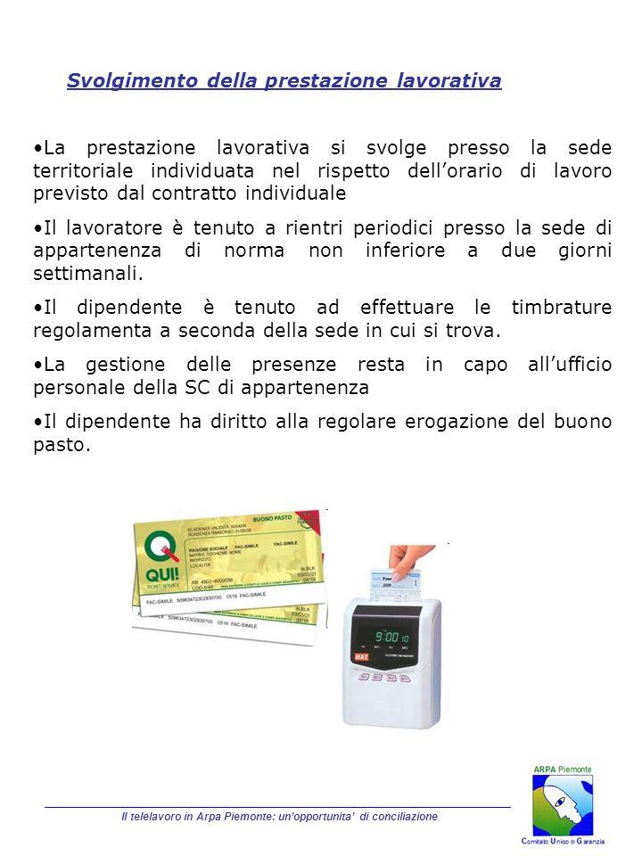 Il telelavoro in Arpa Piemonte: unopportunita di conciliazione Svolgimento della prestazione lavorativa La prestazione lavorativa si svolge presso la