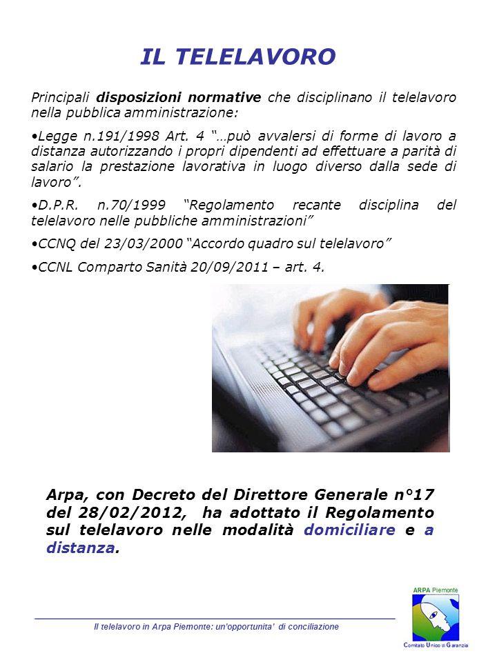 Arpa, con Decreto del Direttore Generale n°17 del 28/02/2012, ha adottato il Regolamento sul telelavoro nelle modalità domiciliare e a distanza. Il te