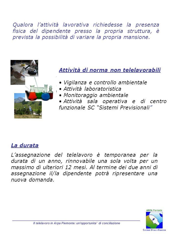 Il telelavoro in Arpa Piemonte: unopportunita di conciliazione La durata Lassegnazione del telelavoro è temporanea per la durata di un anno, rinnovabi
