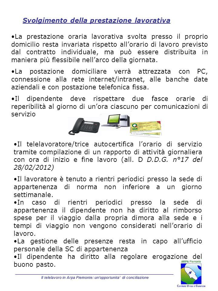 Il telelavoro in Arpa Piemonte: unopportunita di conciliazione Svolgimento della prestazione lavorativa La prestazione oraria lavorativa svolta presso