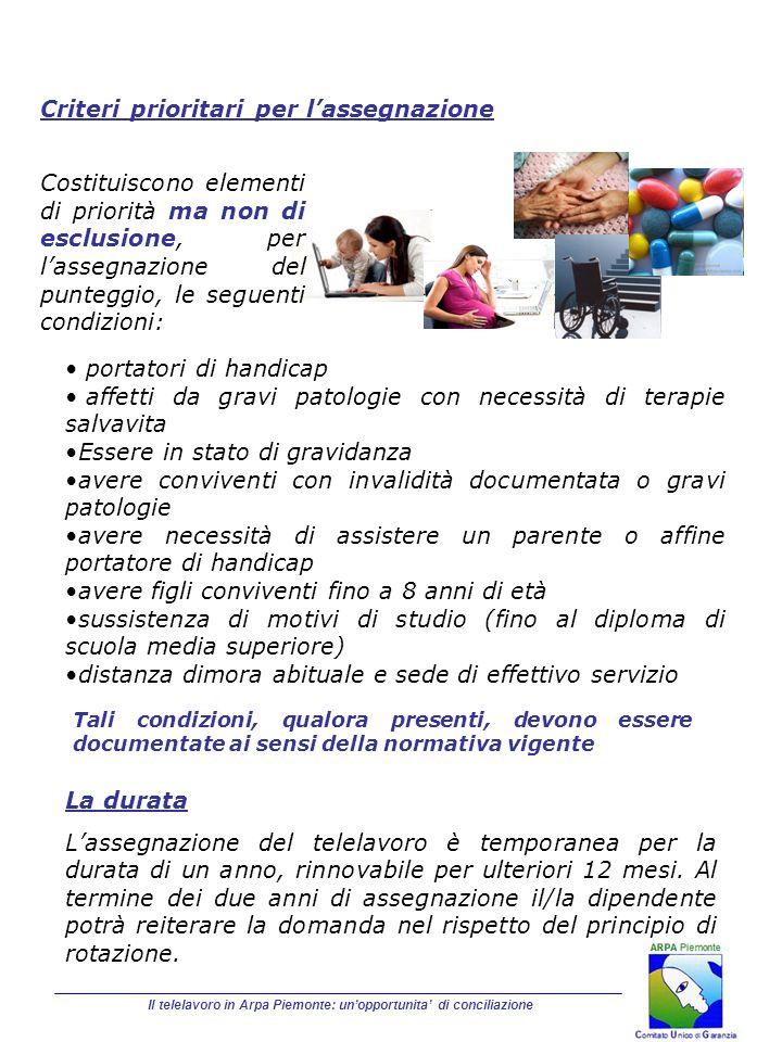 Il telelavoro in Arpa Piemonte: unopportunita di conciliazione Criteri prioritari per lassegnazione portatori di handicap affetti da gravi patologie c