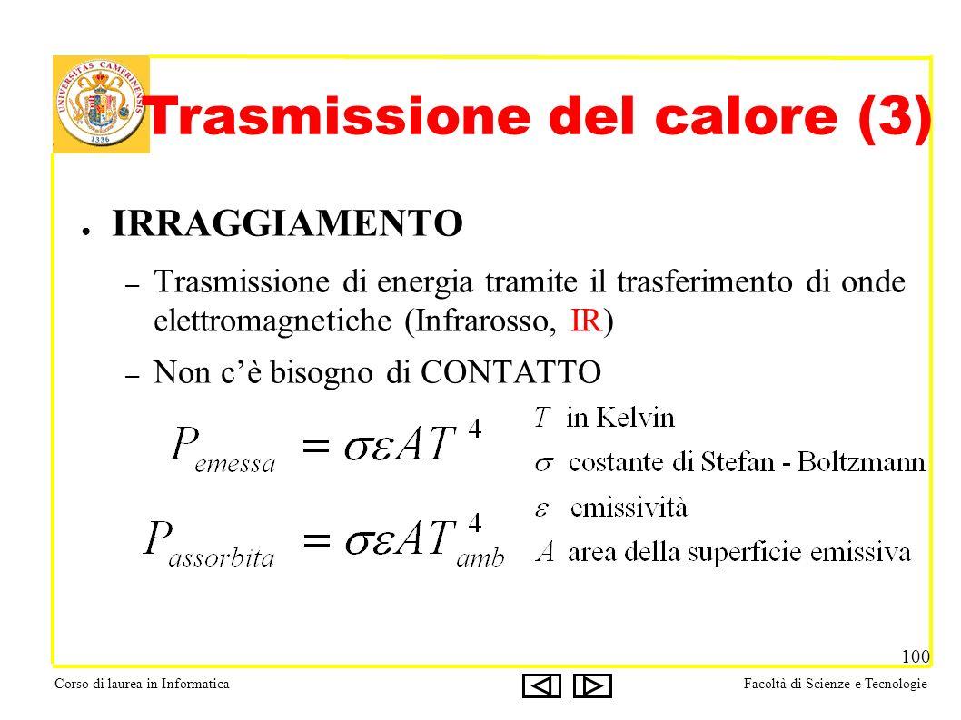 Corso di laurea in InformaticaFacoltà di Scienze e Tecnologie 100 IRRAGGIAMENTO – Trasmissione di energia tramite il trasferimento di onde elettromagnetiche (Infrarosso, IR) – Non cè bisogno di CONTATTO Trasmissione del calore (3)