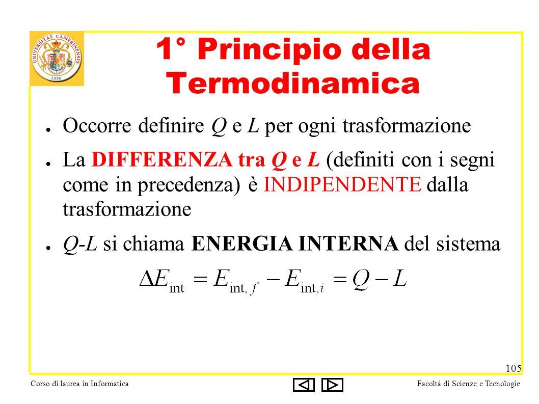 Corso di laurea in InformaticaFacoltà di Scienze e Tecnologie 105 1° Principio della Termodinamica Occorre definire Q e L per ogni trasformazione La DIFFERENZA tra Q e L (definiti con i segni come in precedenza) è INDIPENDENTE dalla trasformazione Q-L si chiama ENERGIA INTERNA del sistema