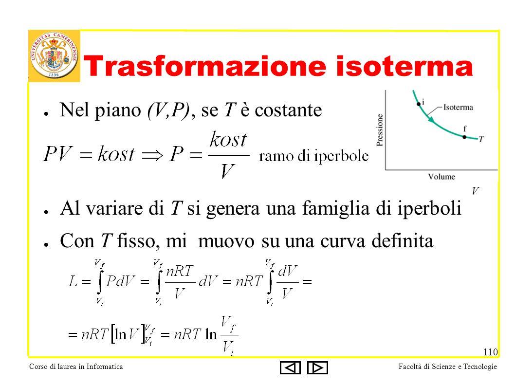 Corso di laurea in InformaticaFacoltà di Scienze e Tecnologie 110 Trasformazione isoterma Nel piano (V,P), se T è costante Al variare di T si genera una famiglia di iperboli Con T fisso, mi muovo su una curva definita V