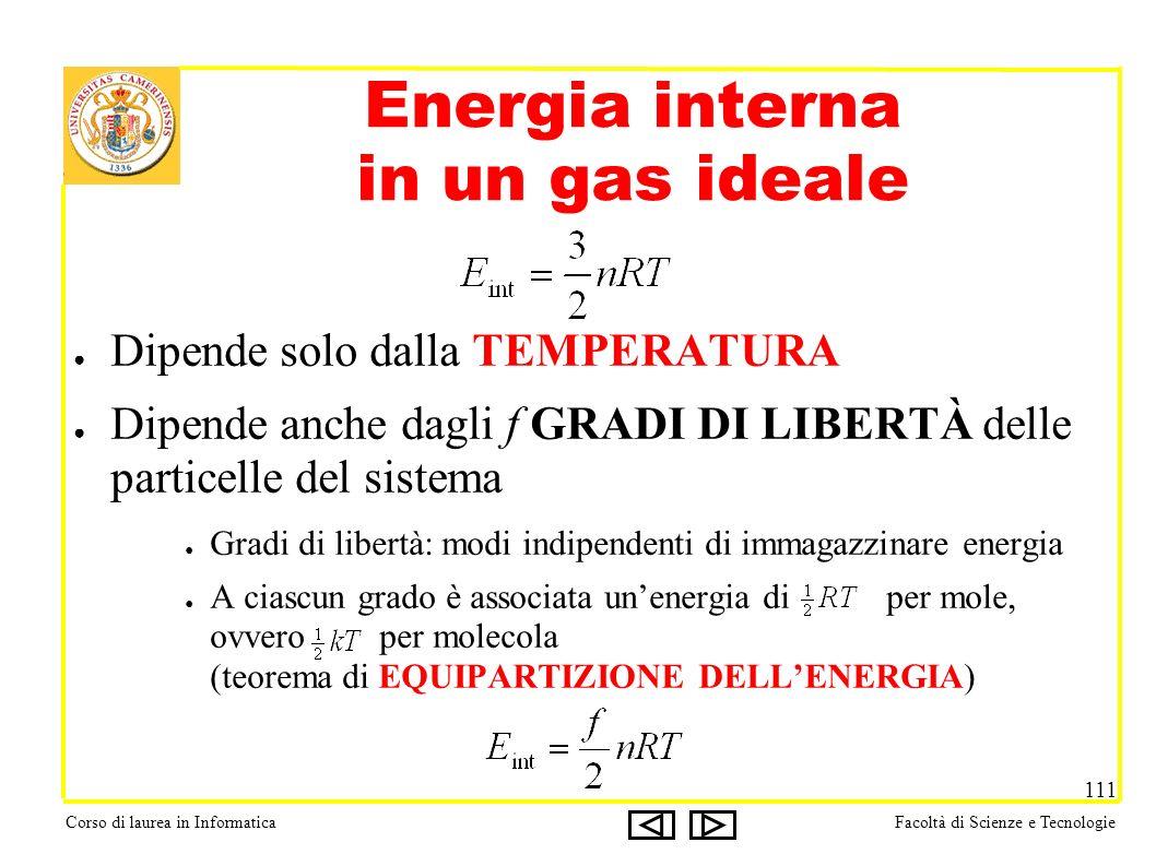 Corso di laurea in InformaticaFacoltà di Scienze e Tecnologie 111 Energia interna in un gas ideale Dipende solo dalla TEMPERATURA Dipende anche dagli f GRADI DI LIBERTÀ delle particelle del sistema Gradi di libertà: modi indipendenti di immagazzinare energia A ciascun grado è associata unenergia di per mole, ovvero per molecola (teorema di EQUIPARTIZIONE DELLENERGIA)