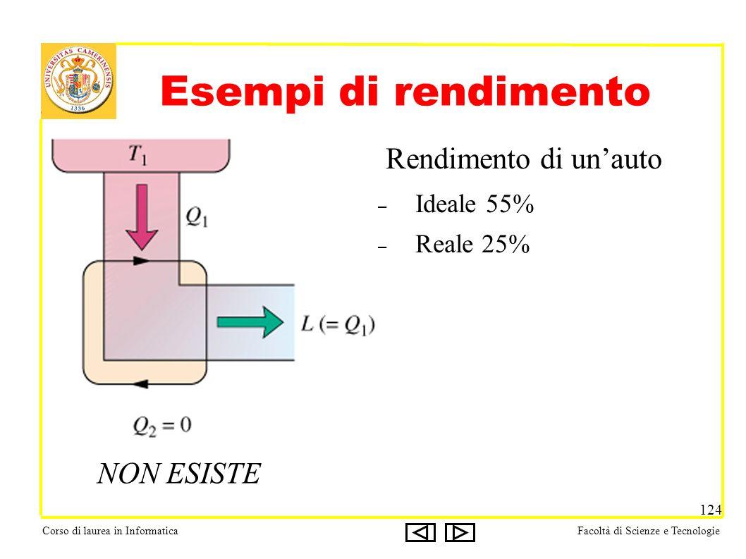 Corso di laurea in InformaticaFacoltà di Scienze e Tecnologie 124 Esempi di rendimento Rendimento di unauto – Ideale 55% – Reale 25% NON ESISTE