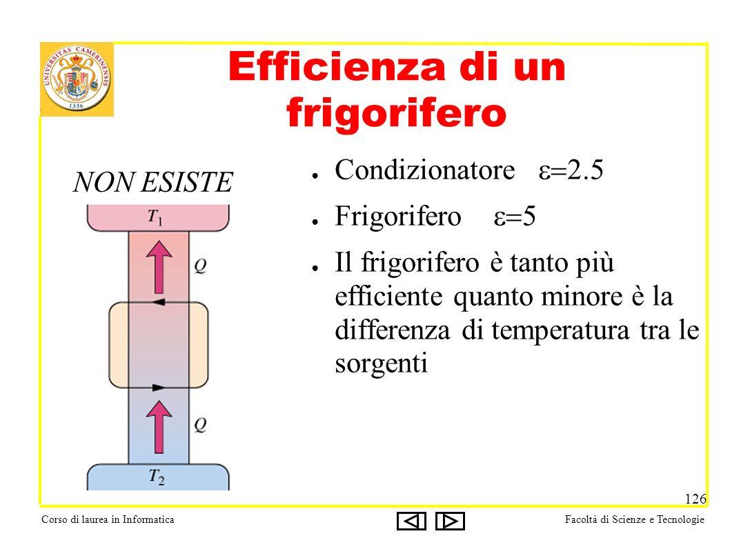 Corso di laurea in InformaticaFacoltà di Scienze e Tecnologie 126 Efficienza di un frigorifero Condizionatore Frigorifero Il frigorifero è tanto più efficiente quanto minore è la differenza di temperatura tra le sorgenti NON ESISTE