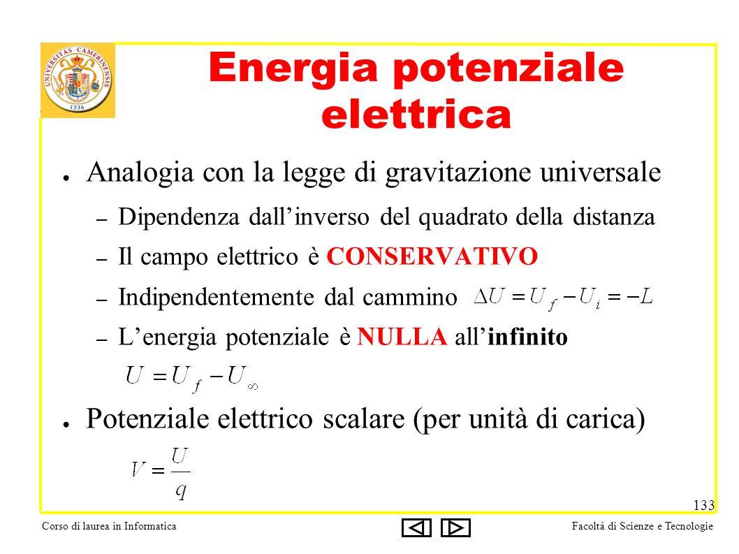 Corso di laurea in InformaticaFacoltà di Scienze e Tecnologie 133 Energia potenziale elettrica Analogia con la legge di gravitazione universale – Dipendenza dallinverso del quadrato della distanza – Il campo elettrico è CONSERVATIVO – Indipendentemente dal cammino – Lenergia potenziale è NULLA allinfinito Potenziale elettrico scalare (per unità di carica)