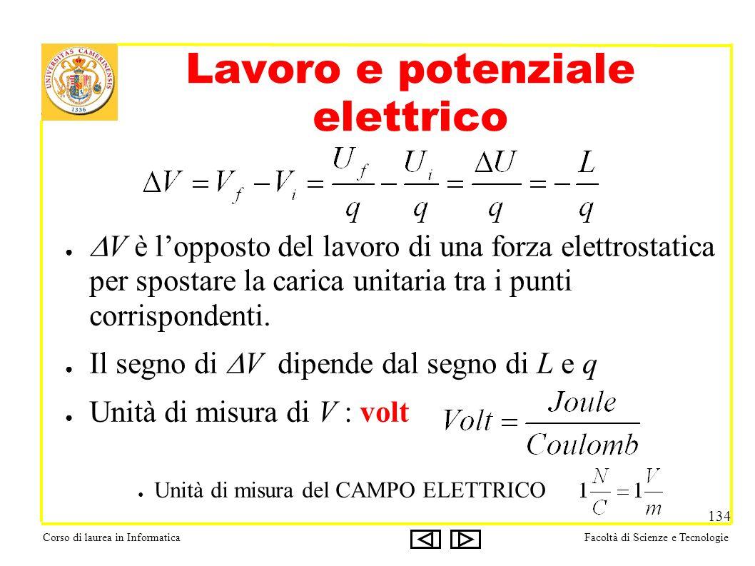 Corso di laurea in InformaticaFacoltà di Scienze e Tecnologie 134 Lavoro e potenziale elettrico V è lopposto del lavoro di una forza elettrostatica per spostare la carica unitaria tra i punti corrispondenti.