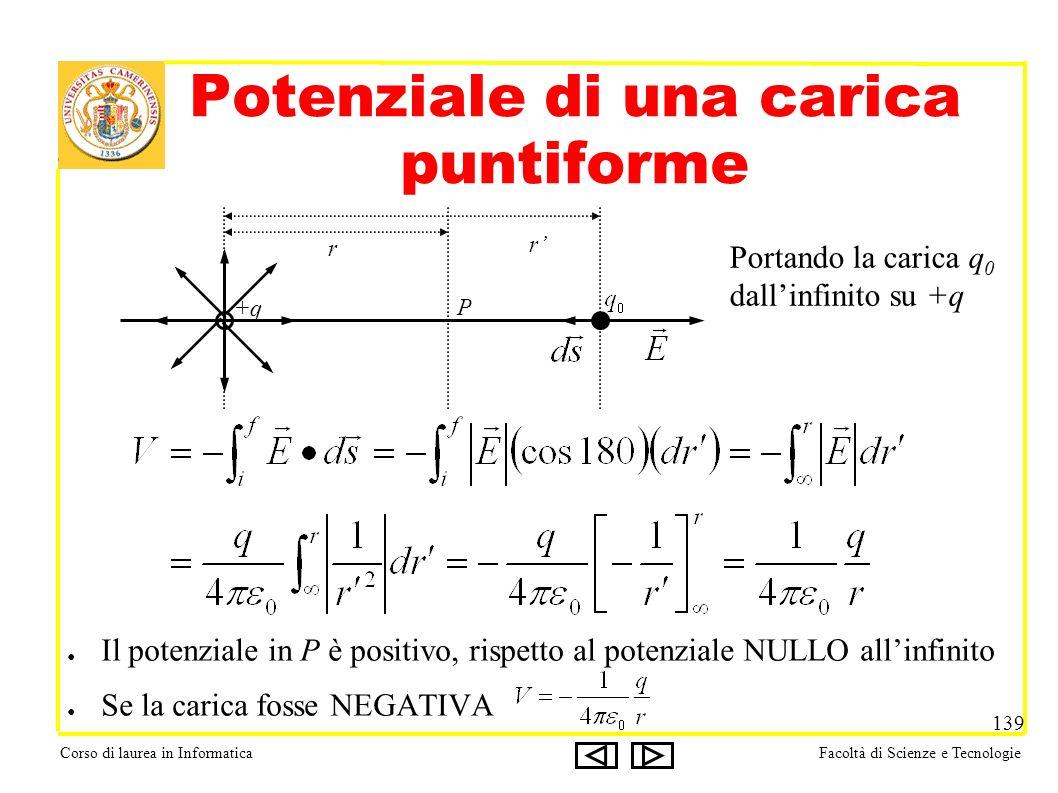 Corso di laurea in InformaticaFacoltà di Scienze e Tecnologie 139 Potenziale di una carica puntiforme +q P r r Portando la carica q 0 dallinfinito su +q Il potenziale in P è positivo, rispetto al potenziale NULLO allinfinito Se la carica fosse NEGATIVA
