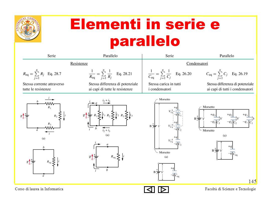 Corso di laurea in InformaticaFacoltà di Scienze e Tecnologie 145 Elementi in serie e parallelo